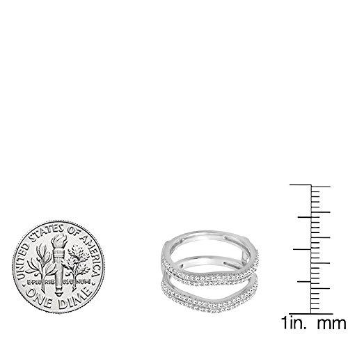 0.48 Carat (ctw) 10K Gold Round White Diamond Ladies Wedding Enhancer Double Ring 1/2 CT