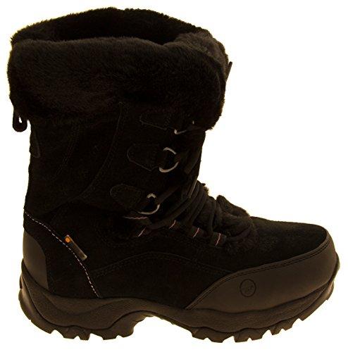 Mujer Hi-Tec Botas impermeables de la nieve del invierno del ante Negro