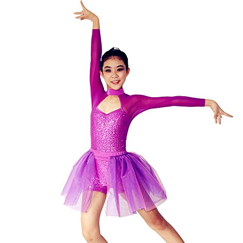 MiDee Full Sequins High Collar Long Illusion Sleeves Ballet Dance Dress (PA, Magenta) (Dance Costumes For Competition Lyrical)
