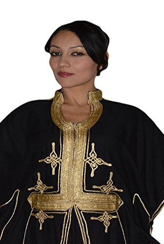 Moroccan Caftan Hand Made Breathable Cotton with Gold Hand Embroidery Long Black by Moroccan Caftans (Image #4)