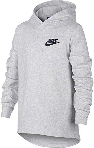 - Nike Boys Sportswear Lightweight Hooded Pullover (Birch Heather/Obsidian, Large)