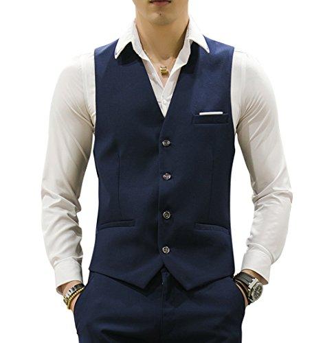 MOGU Mens Waistcoat Causal Suit Vests 10 Colors US Size 42 (Label 5XL) Navy ()