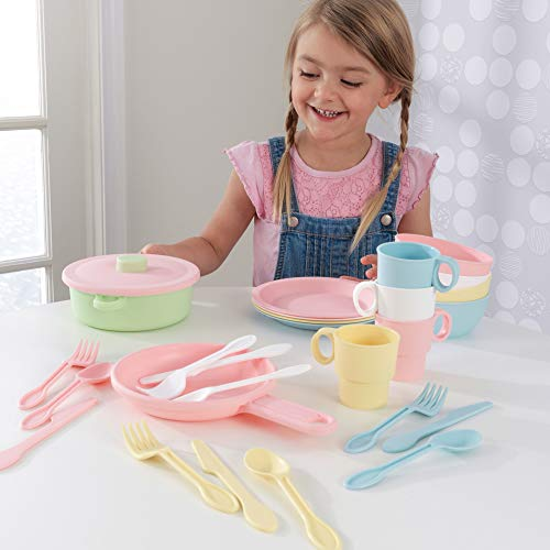 KidKraft 27-Piece Pastel Cookware Set, Plastic Dishes and Utensils for Play Kitchens ,Gift for Ages 18 mo+