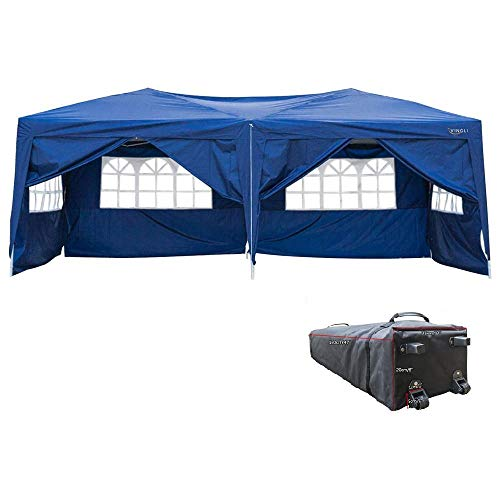 VINGLI 10'x20' EZ Pop Up Canopy Tent w/ 6 Removable Sidewalls, Blue Folding Instant Wedding Party Patio Event Gazebo,W/Rolling Carrying Case ()