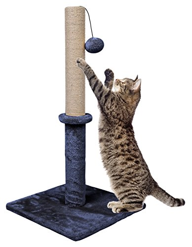 Dimaka 29 Tall Cat Scratching Post, Sisal Rope Scratcher Tree Covered with Soft Smooth Plush, Vertical Scratch, Modern Design 29 Inches Height (Greyish Blue)