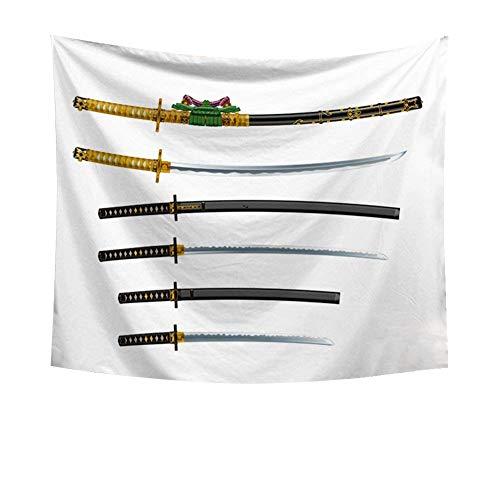 Japanese Samurai Martial Swords Decor Tapestry Japanese Swords Katana Historical Wall Hanging Astrology Hippie Ethnic Decorative Art Window Curtain Table Cover Bedspread Beach Towel ()