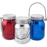 Fox Valley Traders Red, White & Blue Fairy Light Firework Jars, Set of 3