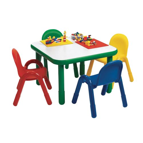 [Angeles Baseline Preschool Square Table & Chair Set Natural] (Dinining Set)