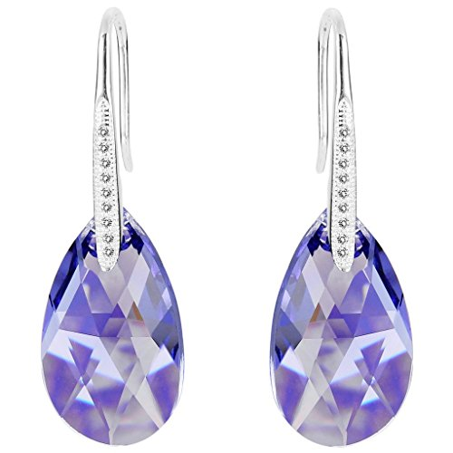 EleQueen 925 Sterling Silver CZ Teardrop Shepherd Hook Dangle Earrings Lavender Purple Adorned with Swarovski Crystals