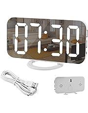 Spegelväckarklocka, digital väckarklocka, stor 6,5tums LED-display med ljusavkännande dämpningsläge, justerbar ljusstyrka, 2 USB-laddningsportar, stor snooze-knapp, för sovrum, vardagsrum, heminredning, vit