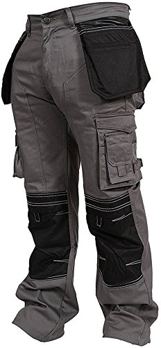 Newfacelook Mens Cargo Trousers Working Pants Cordura Knee Pockets Gray W32-L34 (Heavy Duty Work Pants)