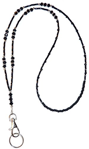 "Crystal Style Fashion Women's Beaded Lanyard 34"", Breakaway and Non breakaway available, For Keys, Badge holder (Black Crystal - NON Breakaway (Stronger))"