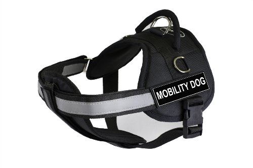 DT Works Harness with Padded Reflective Chest Straps, Mobility Dog, Black, Large, Fits Girth Size: 34-Inch to 47-Inch by Dean & Tyler