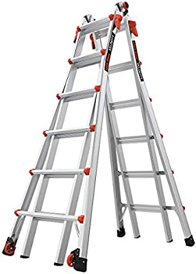 Amazon Com Little Giant Ladders Velocity With Wheels M26 26 Ft Multi Position Ladder Aluminum Type 1a 300 Lbs Weight Rating 15426 001 Home Improvement