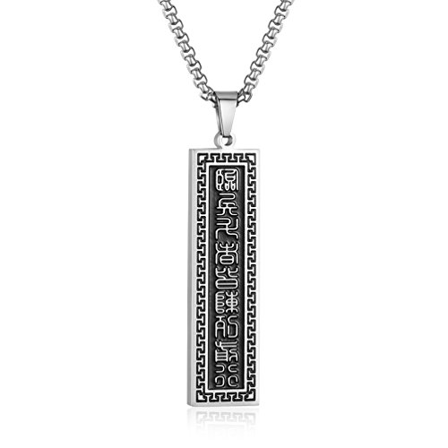 INRENG Men's Stainless Steel Mantra Pendant Necklace Dog Tag Taoism Tai Chi Yin Yang Ba Gua Amulet Charm, Black Silver (Charm Tag Dog Silver Pendant)