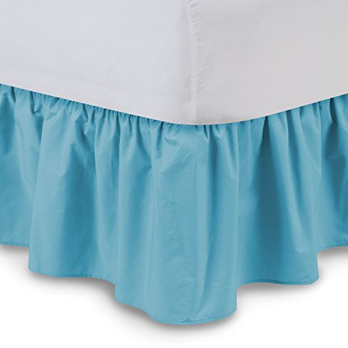 (Shop Bedding Ruffled Bed Skirt (Full, Aqua) 14 Inch Drop Dust Ruffle with Platform, Wrinkle and Fade Resistant - by Harmony Lane (Available in All Bed Sizes and 16 Colors))