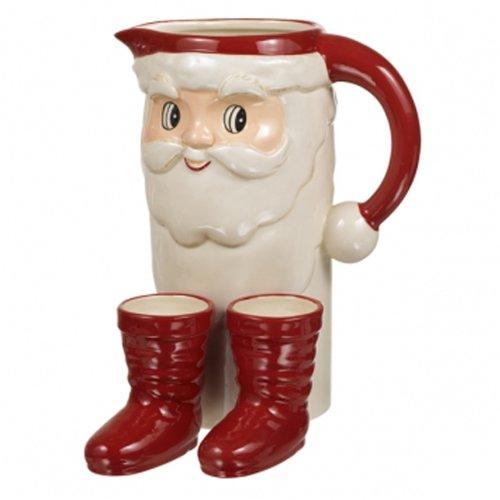 Santa Claus Pitcher - Grasslands Road Santa Cocktail Set - Pitcher and 2 Boot Shot Glasses