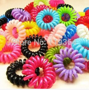 10 Pcs/lot Candy -Colored Telephone Cord Elastic Ponytail Holders/ Hair Accessories / Hair Rope / Spring Rubber Band