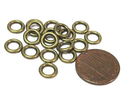 (20 Beads - Antiqued brass color metal alloy donut shape ring beads 8 mm size - BD113A)
