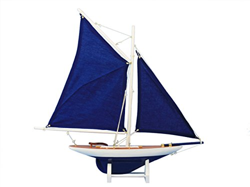 Hampton Nautical  America's Cup Contender Dark Blue Model Yacht Decoration 18