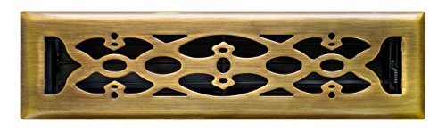 Accord Ventilation AMFRABV210 Victorian Design Floor Register, Antique Brass,  Fits  2