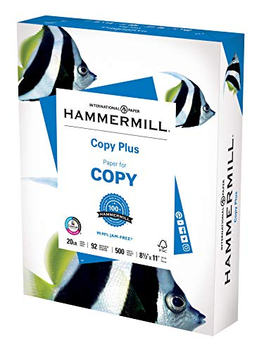Hammermill Printer Paper, 20 lb Copy Plus, 8.5 x 11 - 1 Ream (500 Sheets) - 92 Bright, Made in the USA