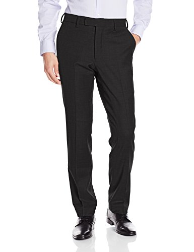 Louis Raphael LUXE Men's Slim Fit Flat Front Stretch Wool Blend Dress Pant, Black, 35W x 30L -