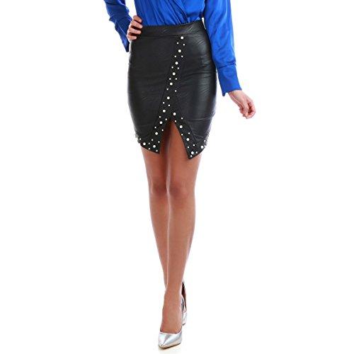 La Modeuse - Jupe Taille Haute et prs du Corps en Simili Cuir Noir