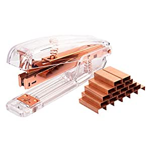 URlighting Acrylic Stapler (Clear/Rose Gold) - Desktop Stapler with 1000 Pieces Staples, 25 Sheets Capacity for Office Desk Stationery Accessory