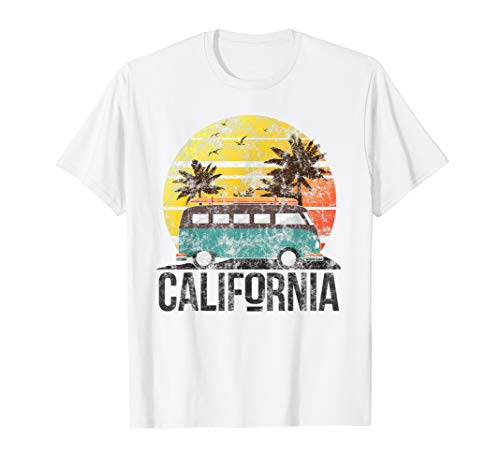 California Retro Surf T Shirt Vintage Van Surfer Distressed