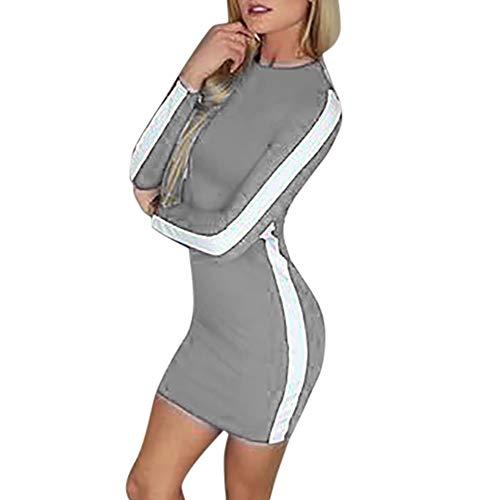 Clearance! Sunfei Fashion Women Casual O-Neck Long Sleeve Patchwork Sexy Bodycon Mini Dress (Gray❤️, Medium) ()