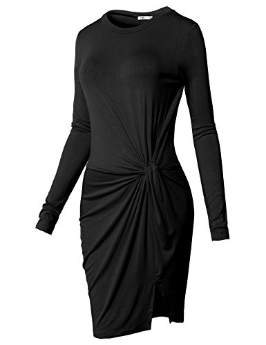 H2H Women's Knotted Front Slit Cocktail Dress Black US M/Asia M (CWDSD0150)
