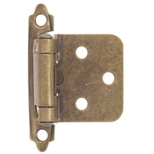 Hardware House 64 4518 Contractor Pack Flush Cabinet Hinge, Antique Brass,  10 Pack