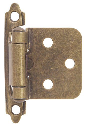 Hardware House 64-4518 Contractor Pack Flush Cabinet Hinge, Antique Brass, 10-Pack ()