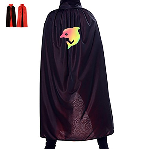 Plus Size Dolphin Costumes (Unisex Halloween Cloak Rainbow Dolphin Witch Hoodies Cosplay Dress Up Birthday Party Costume)