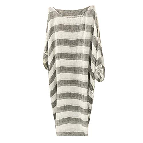 USStore Women Smock Dress Oversize Summer Essential Multi-Use Batwing Full Sleeve Stripe Loose Thin Bikini Tunic Shirt (XXL, Gray)
