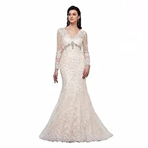 Lover Kiss Appliques Lace Wedding Dress with Long Sleeves Bridal Mermaid  Gown aa5ec2e825b7