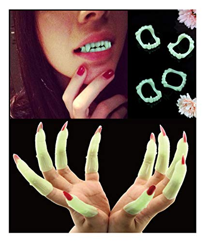 (JAYSLE Halloween Vampire Teeth Zombie Witch Nail Set Masquerade Props Luminous Teeth and Glowing)