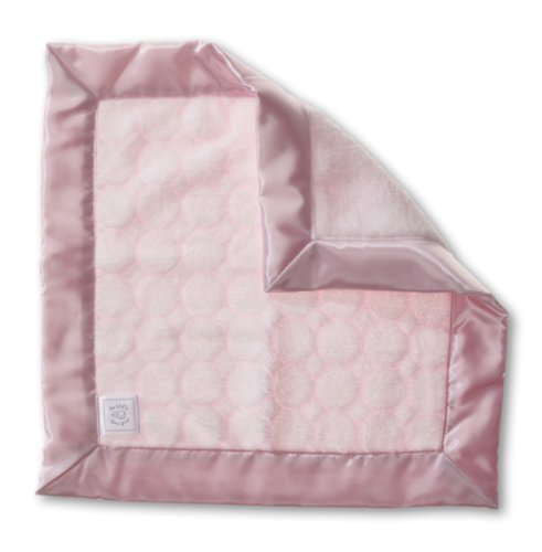 SwaddleDesigns Baby Lovie, Small Security Blanket, Puff Circles with Satin Trim, Pastel Pink