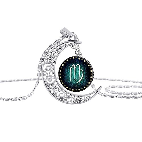 Linsh Moon zodiac constellation Necklace Pendant Hollow Out Charm Necklace Glass Dome (Virgo Zodiac Pendant Necklace)