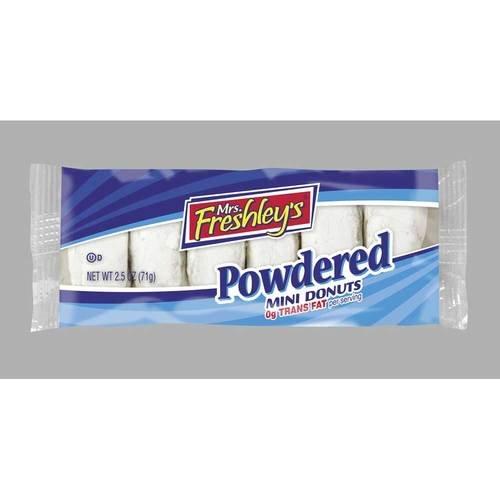 Mrs Freshleys Powdered Sugar Mini Donuts - 12 per pack -- 6 packs per case. by Mrs. Freshley's