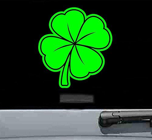 Four leaf clover Vinyl Decal Sticker (LIME GREEN) - Green Leaf Rim