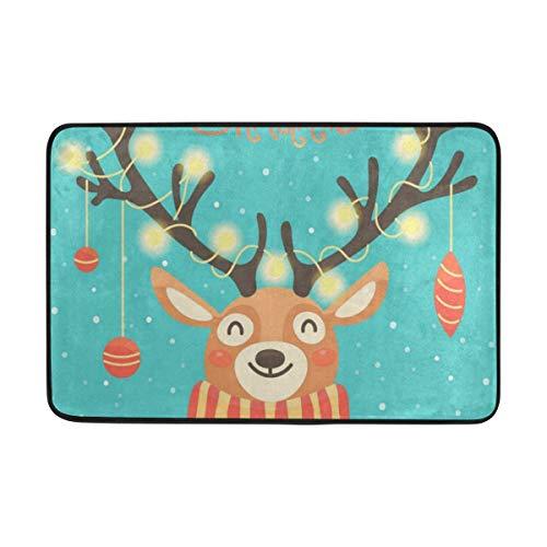 BathMat Cute Christmas Santa Reindeer Doormat Indoor Outdoor Entrance Floor Welcome Mats Bathroom Rug