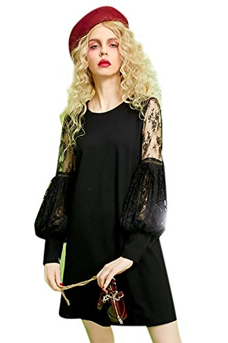 Elf Sack Ladies Summer Round Collar Chiffon Lace Dress Black Medium (Fancy Dress For Womens Ideas)