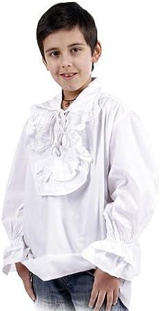Camisa medieval infantil con volantes - traje, disfraz de pirata o de noble - blanca - 6/8 Jahre: Amazon.es: Juguetes y juegos