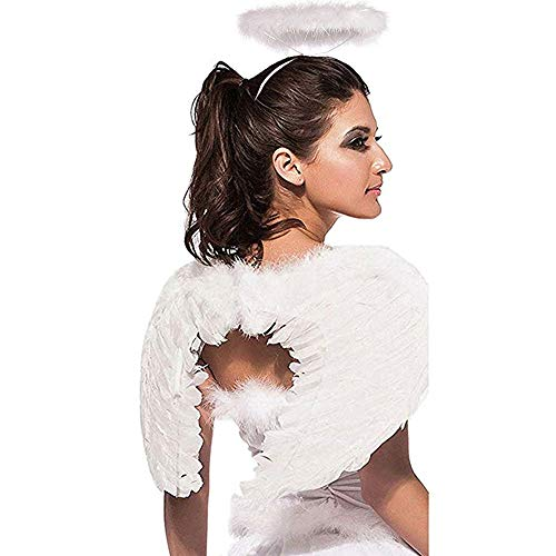 Jackcell Angel Wings and Halo Headband for Kids Costumes, Feather Dress up Fancy Cosplay Party for Girls Women Adults (White-Small 17.7