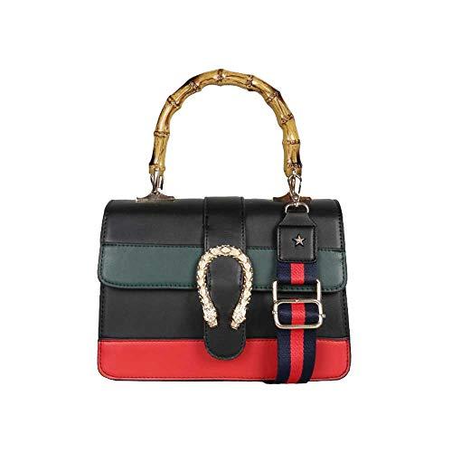 (Women messenger Bag Women Handbag Shoulder bag cross body bag Tote Bags with Bamboo handle 2017 NEW (black2))