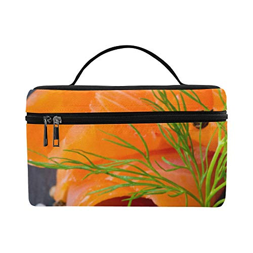 (Fresh And Juicy Salmon Large Capacity Size Lady Cosmetic Bag Makeup Organizer Lunch Box Train Toiletry Case For Girls Teen Women Travel With Zipper And Single Layer)