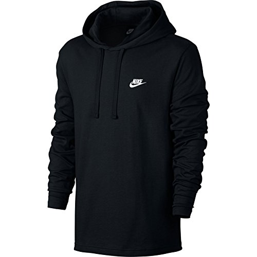 Nike Mens Sportswear Pull Over Hooded Long Sleeve Shirt Black/White 807249-010 Size Small