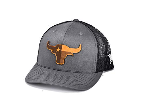 Texas Longhorn Hats (Branded Bills Texas 'The Longhorn' Leather Patch Hat - Curved Trucker -)